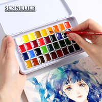 24/36Colors Pink/White Solid Water Color Paint Set With Iron Box 0.5ml/1ml For Drawing Watercolor Painting Pigment Art Supplies