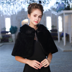 Image 1 - Fashion Women Warm Wrap Faux Fur Short Cape Bridal Wedding Bridesmaids Cover Up Winter Jacket Lace Up Shrug Handmade
