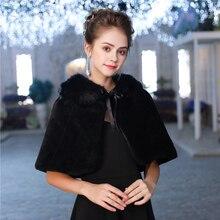 Mode Vrouwen Warm Wrap Faux Fur Korte Cape Bridal Wedding Bruidsmeisjes Cover Up Winter Jas Lace Up Schouderophalen Handgemaakte