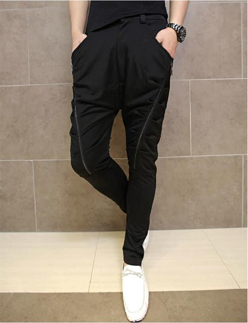 2016 Korean Fashion Mens Harem Sweatpants Fold Personality Double Zipper Cool Mans Hip Hop Harem Pant Loose Casual Long Trousers