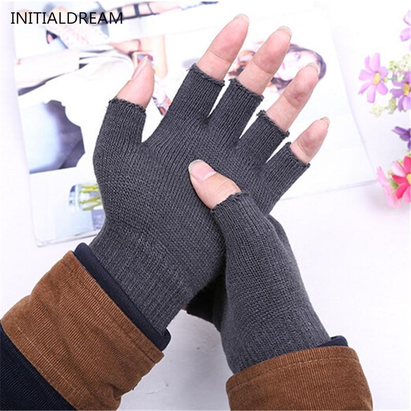 Men Women Winter Warm Fingerless Gloves Solid Color Knitting Elastic Gloves Christmas Gift For Lover Wholesale ST023