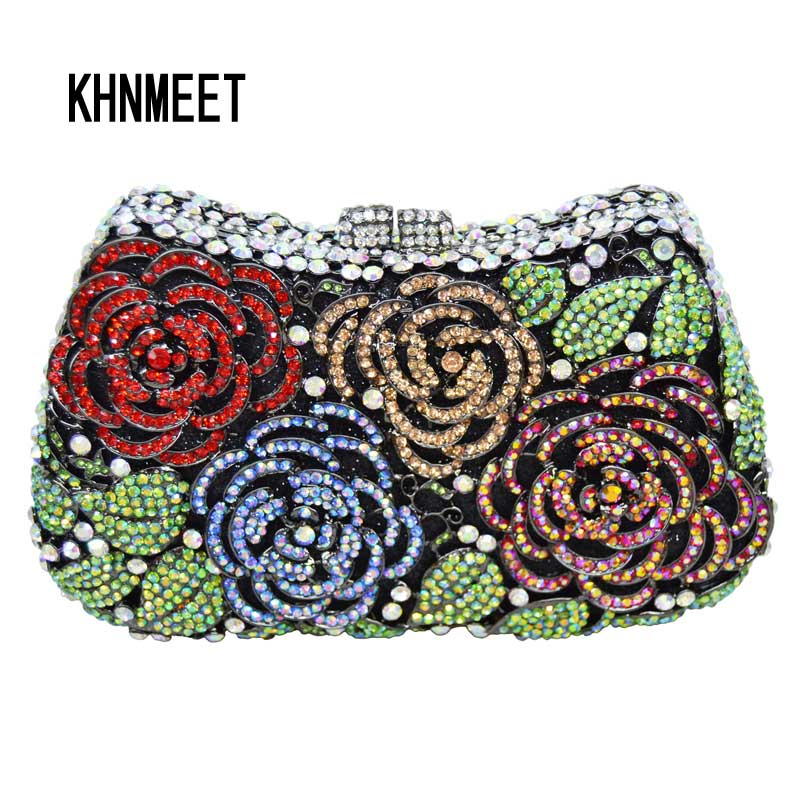 LaiSC Flower Clutch Bag Diamond Luxury Clutch Evening Bag Wedding Party Purse Christmas gift Bag Women Crystal Handbags SC281 brand designer luxury crystal multicolor clutch bag women diamond evening bag golden oval wedding banquet purse handbags sc467