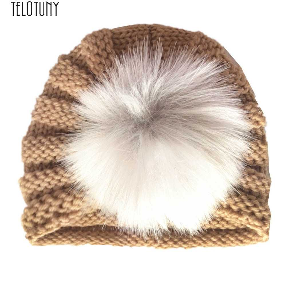 TELOTUNY kids Hat Newborn Baby Boy Girl Knitted Turban Pom Hat Winter Warm Beanie Headwear Cap Baby Soft Hat fashion Cute nov26