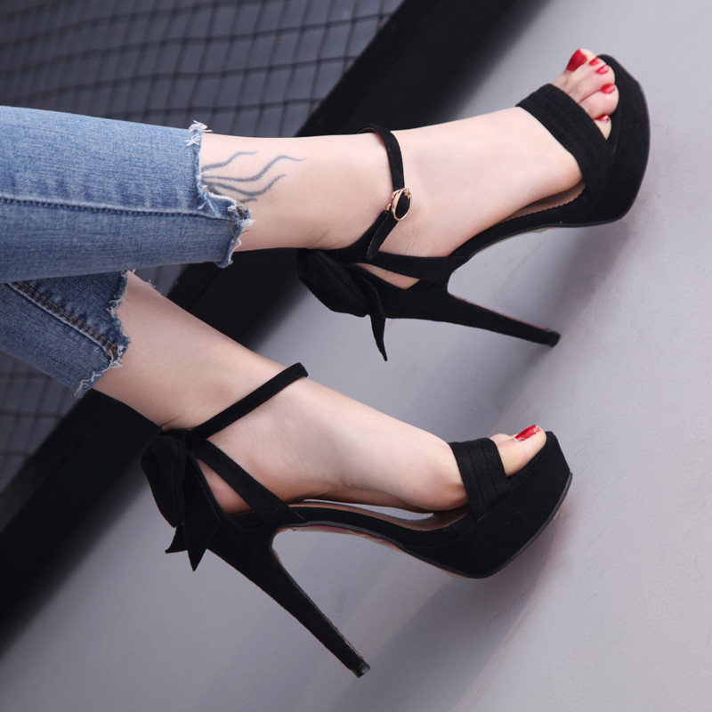 Bow Women Shoes High Heel Sandals Platform High Heels Peep Toe Pumps Ankle Strap Shoes Thin High Heel Zapatos Mujer Tacon