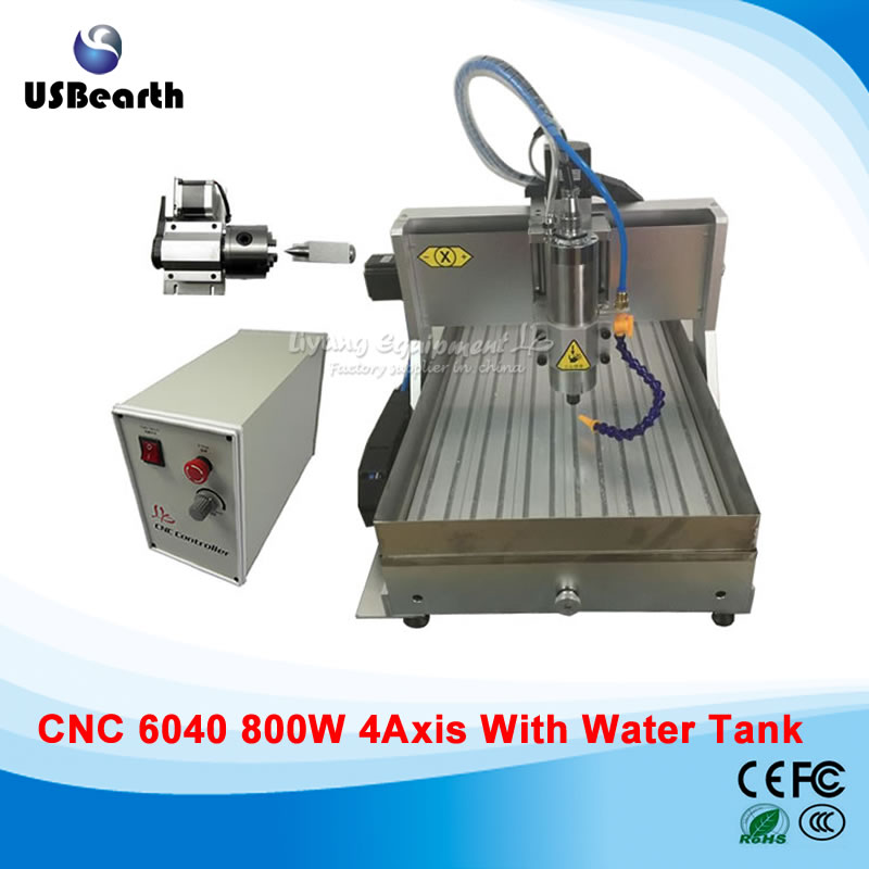 купить 800w 4 axis cnc engraving machine 6040 cnc machine with USB port,  water tank water spray nozzle дешево