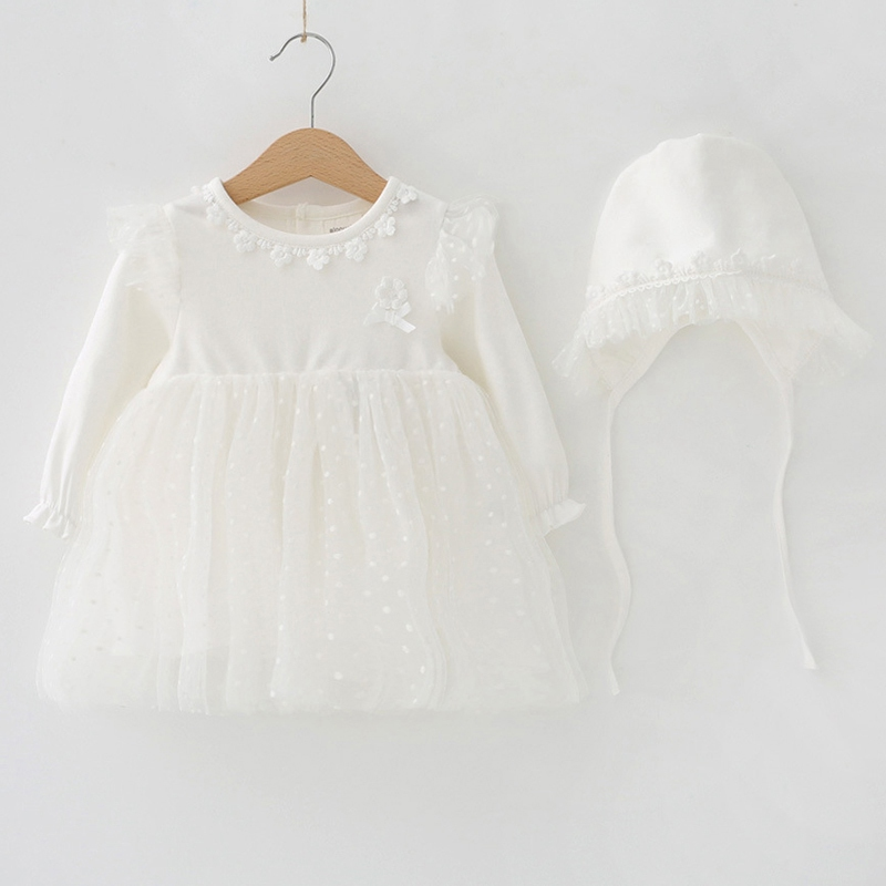 White Lace Baby Girl Dress Sets Autumn Newborn Infant Clothing Long Sleeve Dress+Cap 2pcs Casual Girls Clothes Babykleding new baby girl clothing sets lace tutu romper dress jumpersuit headband 2pcs set bebes infant 1st birthday superman costumes 0 2t