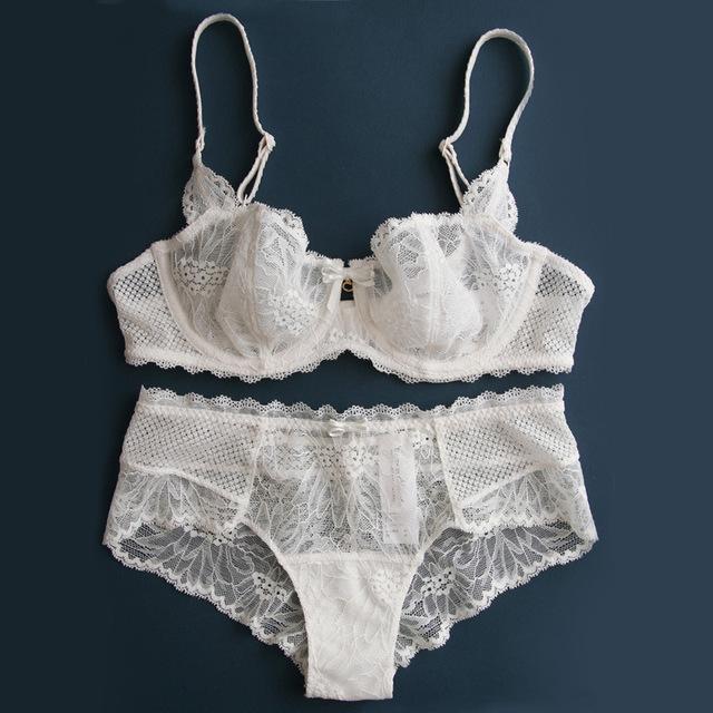 Transparent Lace Bra Panties Underwear Lingerie Set