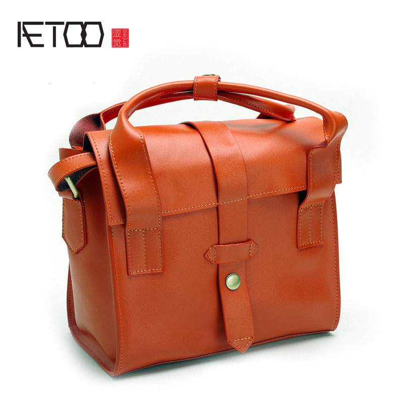 AETOO New saddle bag leather shoulder bag Japanese and Korean Academy wind hand skewed cross package aetoo new first layer of leather men s shoulder bag leather male package cross section oblique cross bag japanese and korean ver