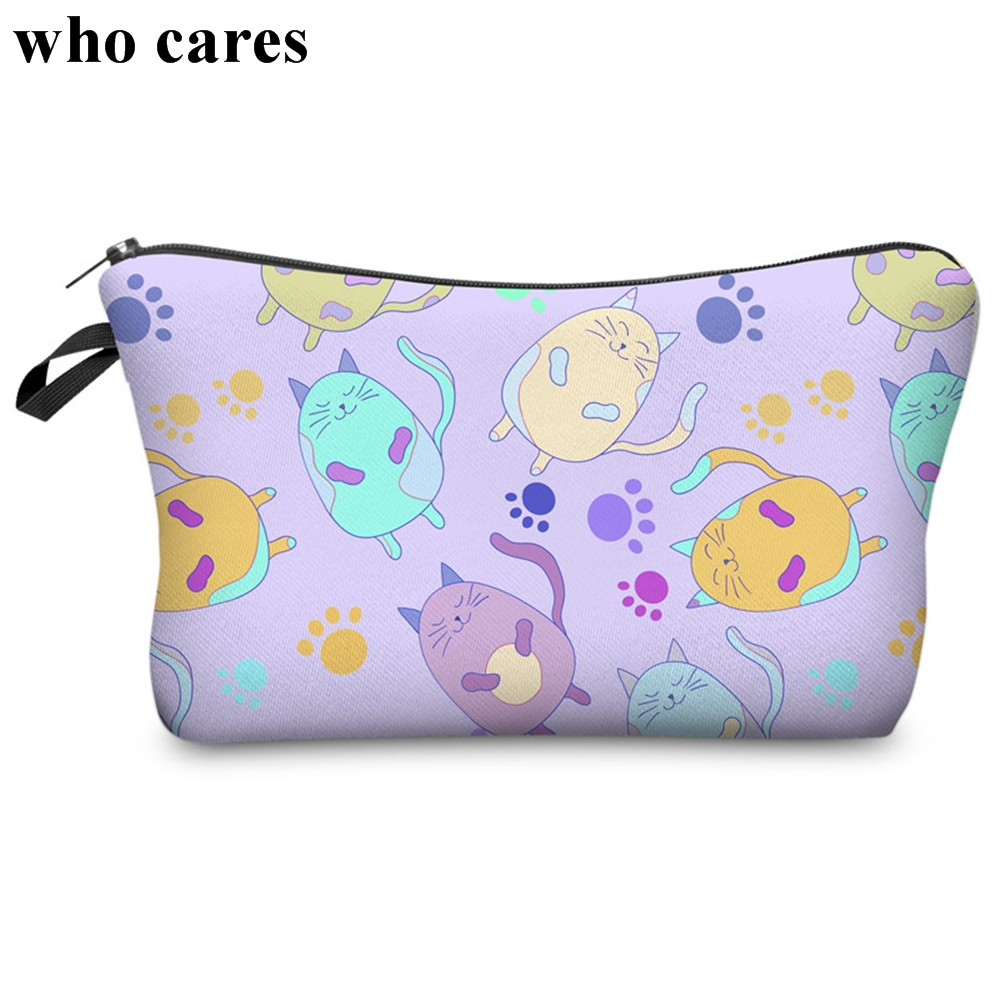 Who Cares Printing Interesting Pattern Cosmetic Bag Organizer Toiletry Pencil Makeup Bags Necessarie Makyaj Cantasi Kosmetyczka who cares about particle physics