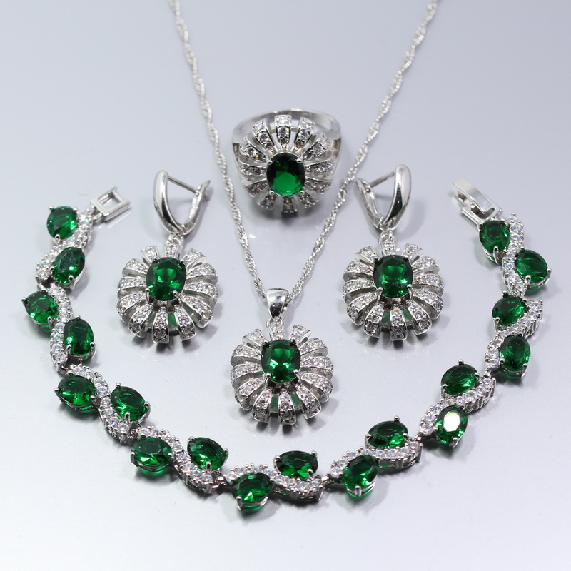 new fashion 925 silver flower green created emerald