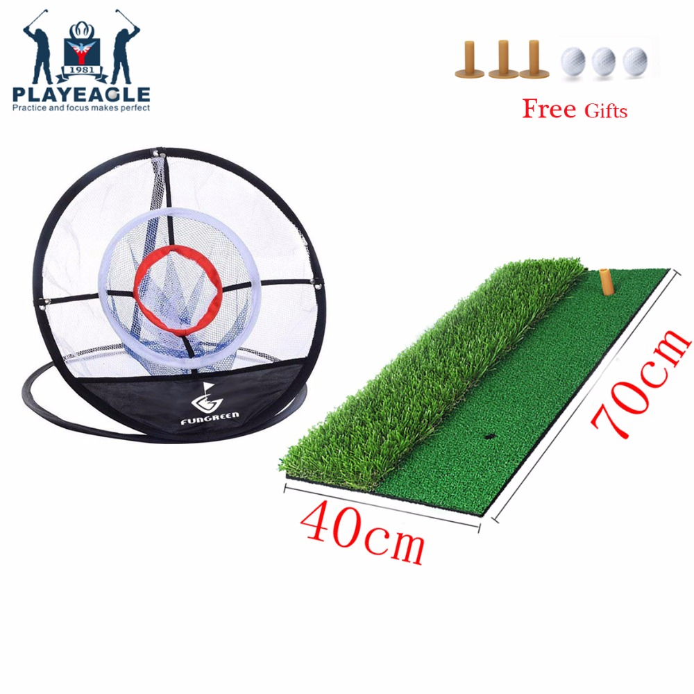 FUNGREEN Backyard Indoor Golf Chipping Mat And Net 70x40cm Practice Golf Mat Rubber Tee Holder Golf Hitting Mat With Golf Tee