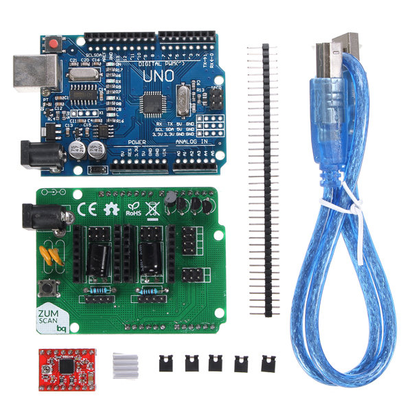 Free Shipping high quality 1 kit UNO R3 Board ZUM Scan Shield Expansion Open Source Kit For DIY Ciclop 3D Printer Scanner
