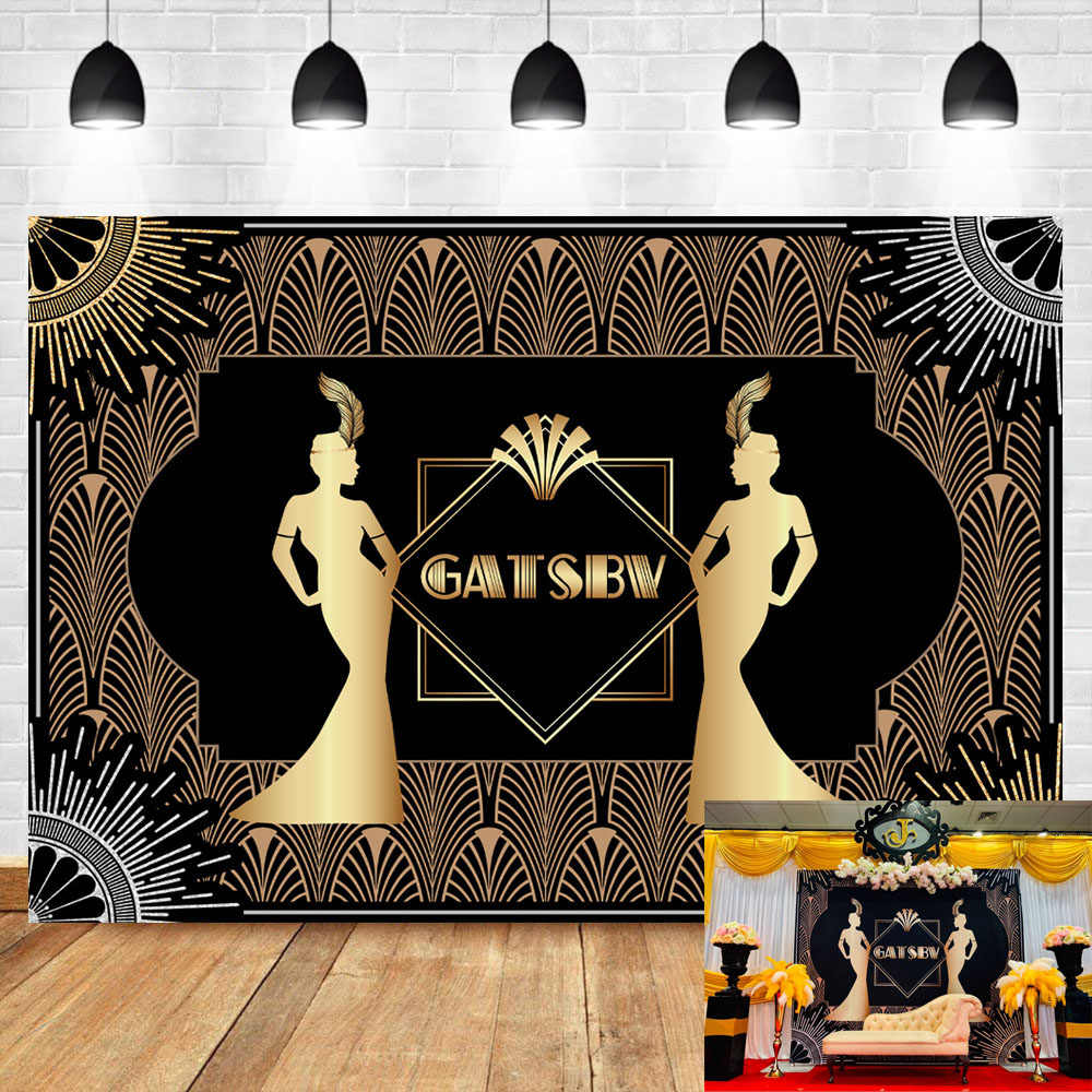 Great Gatsby Backdrop Retro Flapper Girl Art Decor Background Adults Birthday Party Celebration Booth Backdrop Photo Studio