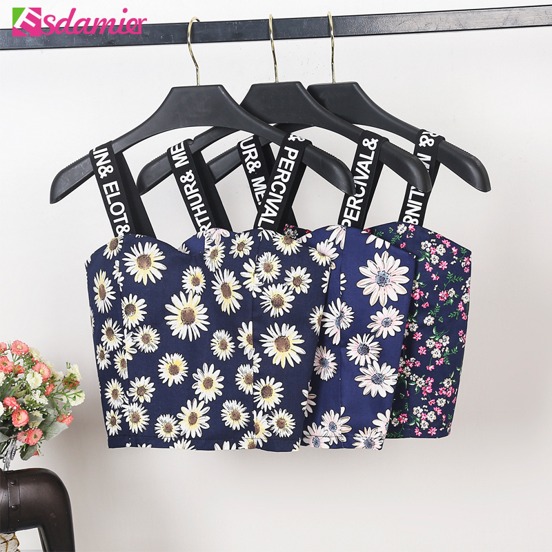 Summer Tops Women Sexy Printed Bustier Crop Top Fashion Letter Print Strap Top Cropped Back Zipper Up Slim Crop Tops For Women