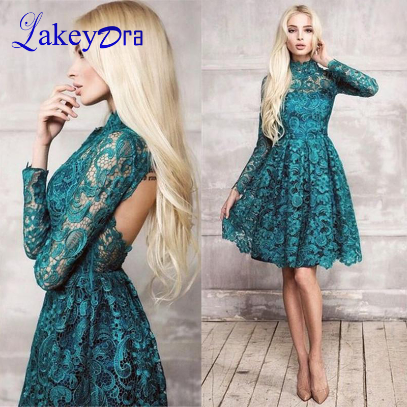 Lakeydra High Neck Lace   Cocktail     Dresses   Long Sleeves Plus Size Zipper Back Sexy Short Prom Gowns Robe De Soiree