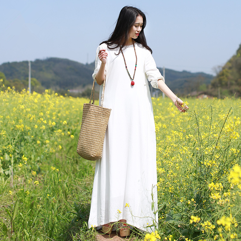 New Retro Spring White Maxi Dress Women Cotton Linen Long Dresses 9 Points Sleeve Casual Gown
