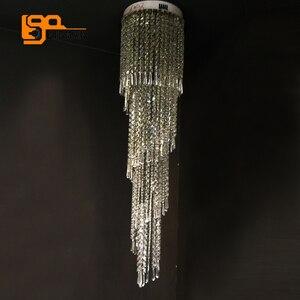 Image 4 - تصميم فاخر طويل الثريات البلورية/ النجف الكريستالي مصباح ليد AC110 220 فولت بريق hanglamp الحديثة الدرج الثريا
