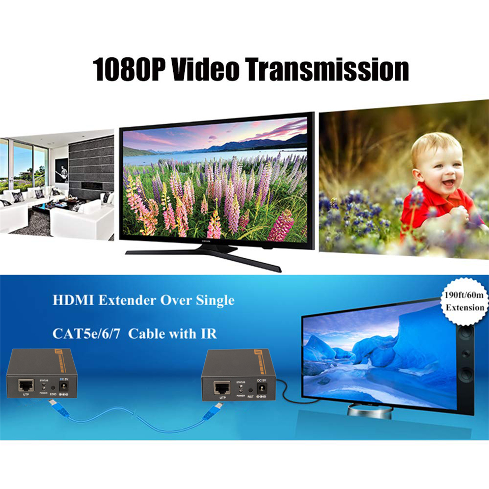 1080P 60m HDMI Extender HDMI Repeater Over Cat6 Cat7 Ethernet Cables With  IR Function RJ45 Transmitter TX/RX HDMI Extender Loop