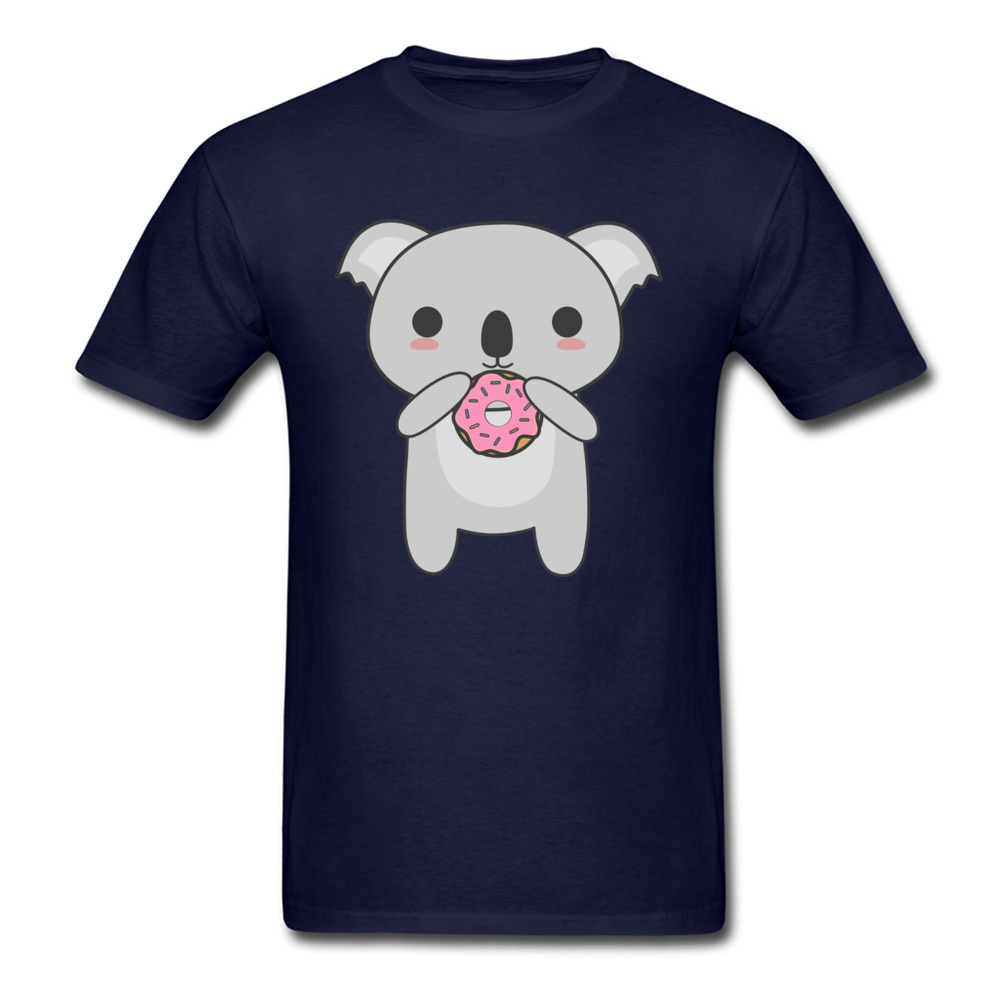 Tops Tees Sweatshirts Kawaii Koala Eating A Donut Summer/Autumn Short Sleeve Cotton Fabric Crew Neck Mens T-Shirt Comics New Kawaii Koala Eating A Donut navy