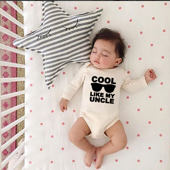 Cool Like My Uncle Baby Long Sleeve Funny Bodysuit Newborn Boys Girls Cotton Jumpsuit Infant Cute Letter Print Bodysuits