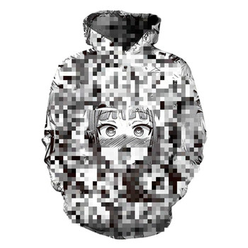 Ahegao Hoodies Hooded Women Men Funny Shy Girl 3D Face Sweatshirt Hentai Manga Streetwear Harajuku Oversized Zip up Jackets Tops