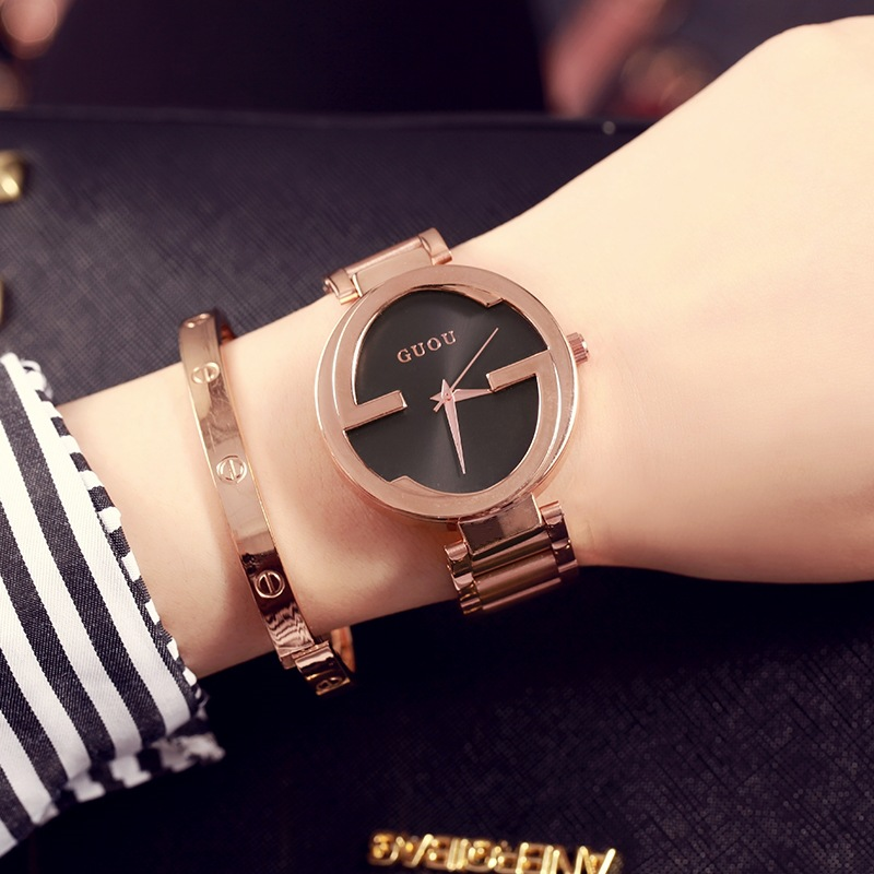 GUOU brand new fashion unique women watch Relogios Femininos luxury ladies dress quartz watch clock 2018 Hot Gift reloj mujer цена 2017