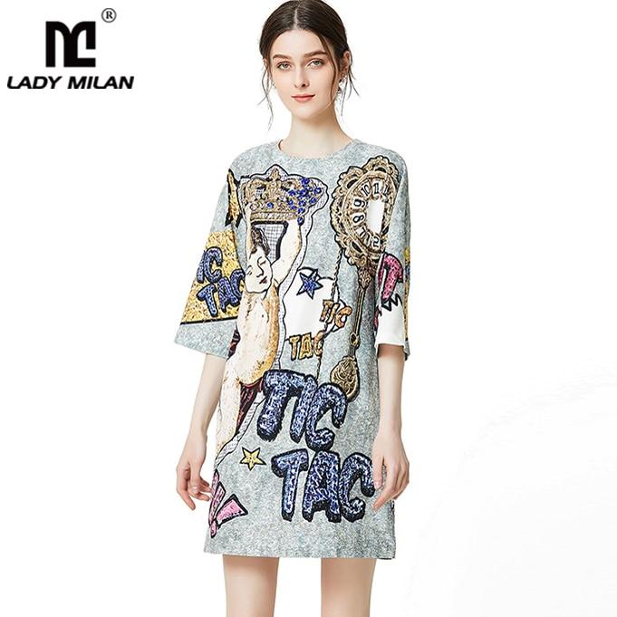 Lady Milan 2019 femmes robes de piste O cou 3/4 manches imprimé perlé mode une ligne courte robes de piste-in Robes from Mode Femme et Accessoires    1