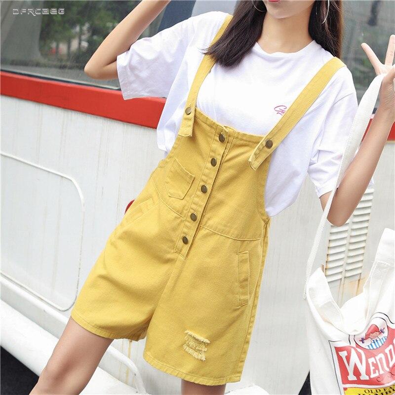 Yellow Women Suspender Denim Short   Jumpsuits   Summer 2019 Streetwear Fashion Retro Strap Elegant Jeans Overall Playsuits Female