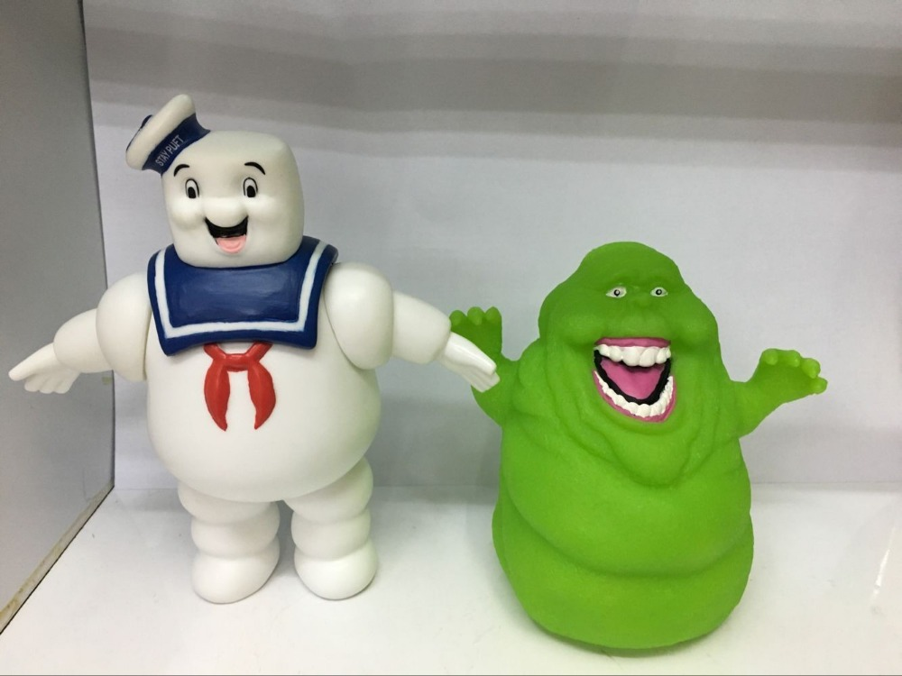 1pcs 11CM Opp Package Cartoon Anime Ghostbusters Green Ghost Slimer Action Figure Doll PVC Cup Wall Model BB Knock Toys D10