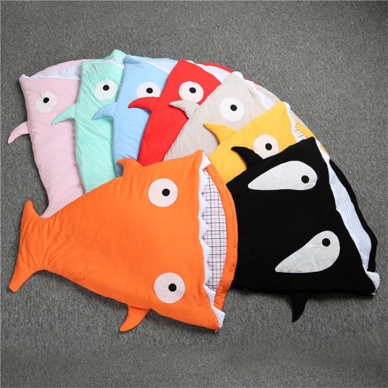 RP-039 In envelope newborn shark sleeping bag for winter use baby swaddle blanket wrap cute cartoon infantil sleep bag bedding