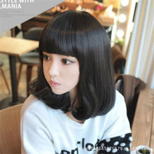 new short style lady curly wig with bangs brown/black wig women wigs short hair natural heat resistant synthetic wigs cosplay