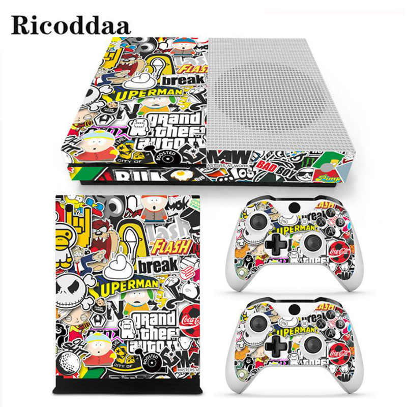 Cartoon Design Decal Skin For Microsoft Xbox One Slim Skin Sticker+2PCS Controller Skins For Xbox One S Game Accessories