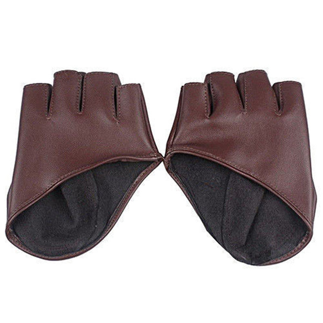 Fashion Half Finger Fingerless PU Leather Gloves Ladys Driving Show Pole Dance  Mittens for Women Men Free Shipping 5