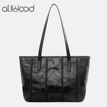 Aliwood 2019 genuíno couro de carneiro das mulheres sacos ombro grande capacidade bolsas de compras feminino retalhos tote bolsa feminina