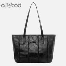 Aliwood 2019 אמיתי כבש עור נשים כתף שקיות קיבולת גדולה קניות תיקי נקבה טלאים Tote Bolsa Feminina