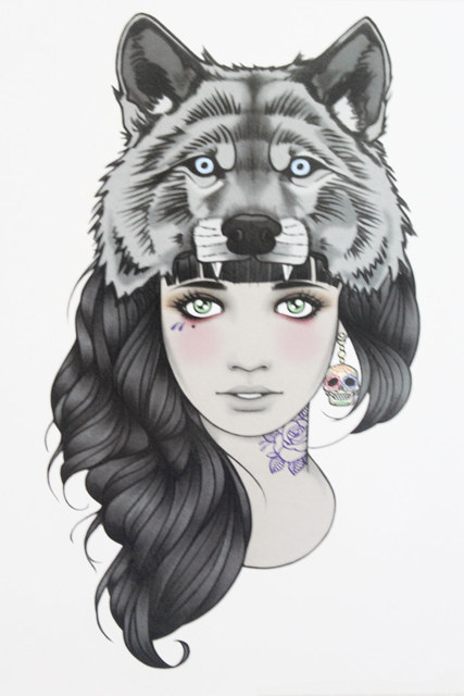 Girl With Wolf Head Tattoo 21 X 15 CM Sized Sexy Cool Beauty Tattoo Waterproof Hot Temporary Tattoo Stickers