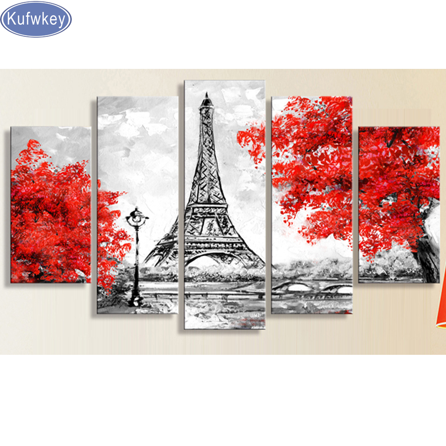 5pc tower Red Tree plant diy diamond painting square drill diamond embroidery mosaic modern triptych home decoration 3d painting