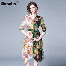 Banulin 2019 Summer Women Runway Bohemian Boho Style Vintage Retro Block Color Striped Geometric Floral Print Midi Dress casual striped color block dress