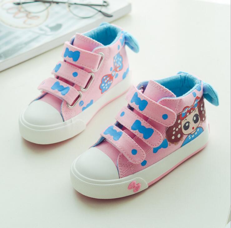 Качество обувь для детей для с бантом для маленьких девочек парусиновая обувь дышащие высокие кроссовки низкая принцесса кроссовки для дев...