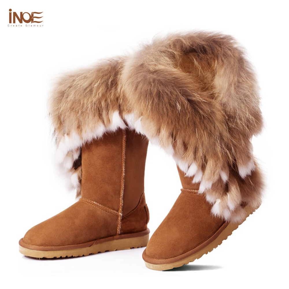 0dc73eb869e15 INOE fashion natural fox fur cow split leather lady high snow boots for  women winter boots flats shoes rabbit fur tassels edging-in Snow Boots from  ...