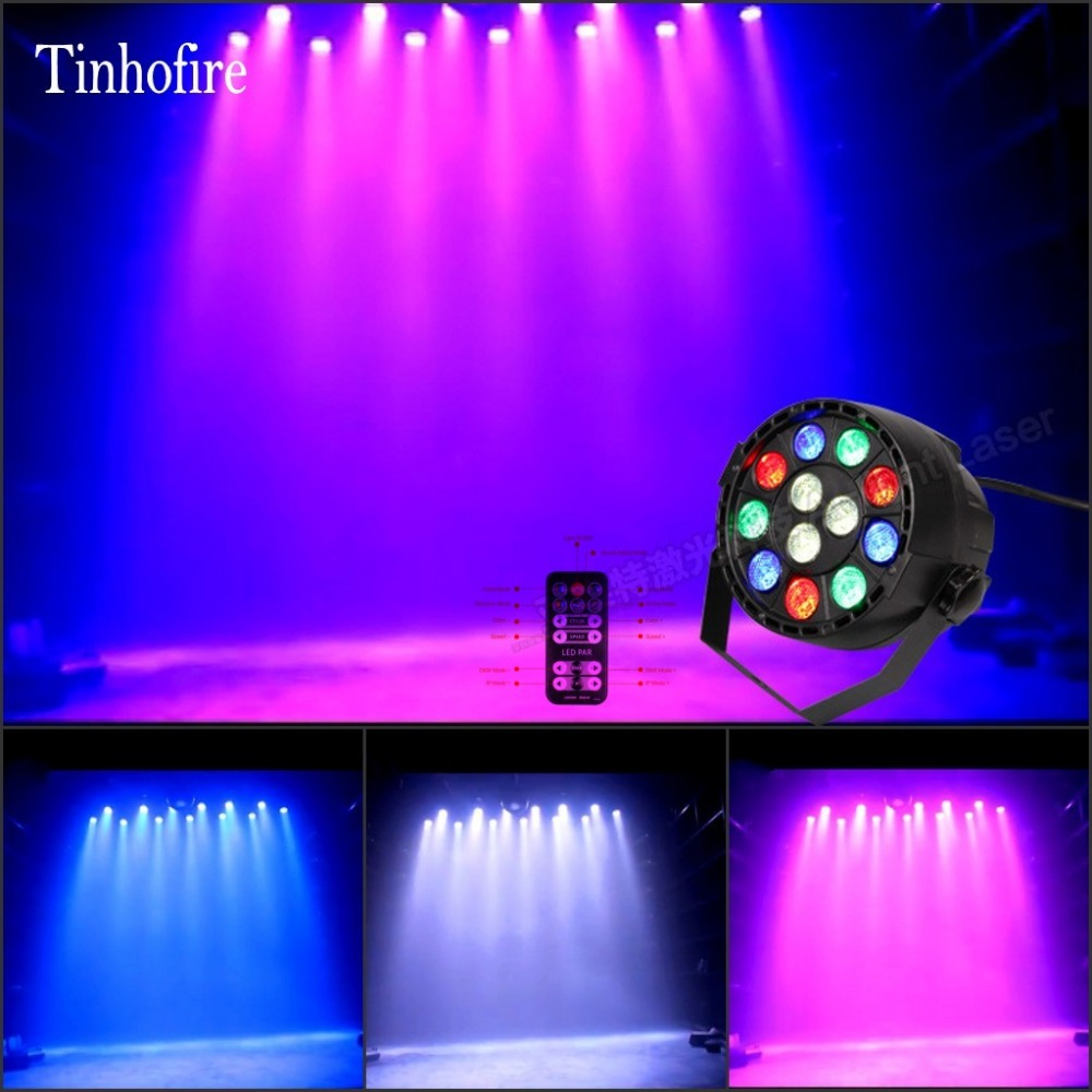 Tinhofire 12W 12 LED Colors Remote control par light DMX RGBW LED Stage Lamp PAR Lights Strobe Party Disco KTV LED Stage Light yimia creative 4 colors remote control led night lights hourglass night light wall lamp chandelier lights children baby s gifts