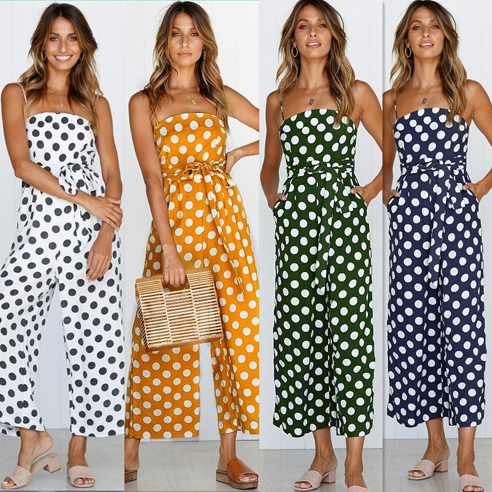 Lossky   Jumpsuit   Polka Dot Camisole Women Rompers Summer Woven Strapless Belted Wide Leg Pants Casual Overalls Femme