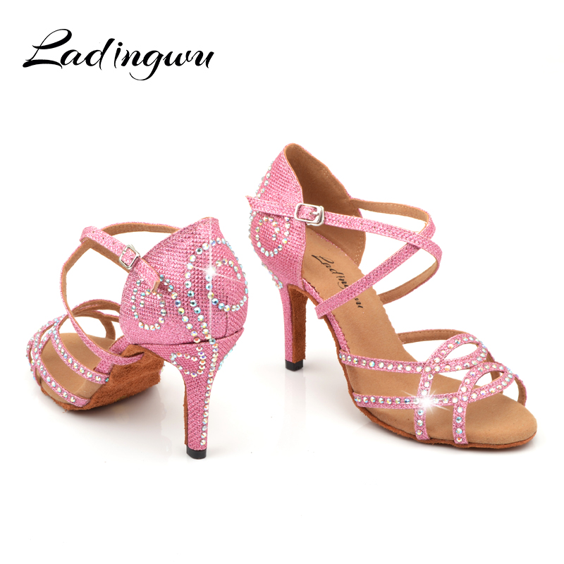 Ladingwu Ladies Shoes Purple Satin Latin Dance Shoes Rhinestone Profession Salsa Dance Shoes zapatos de baile