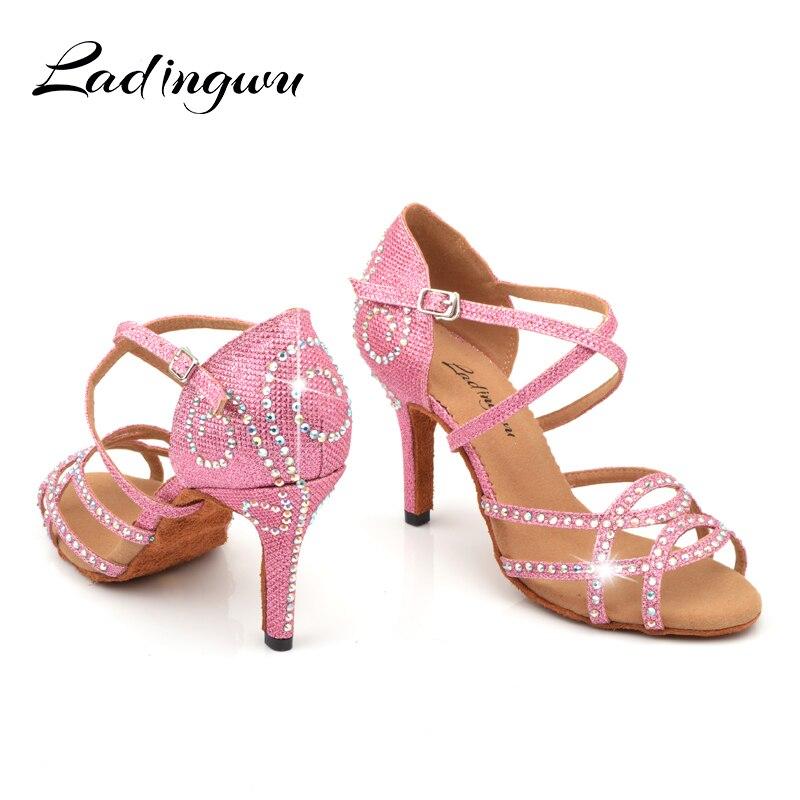 Ladingwu Dames Chaussures Violet Satin Latine Chaussures de Danse Strass Profession Salsa Danse Chaussures zapatos de baile latino mujer