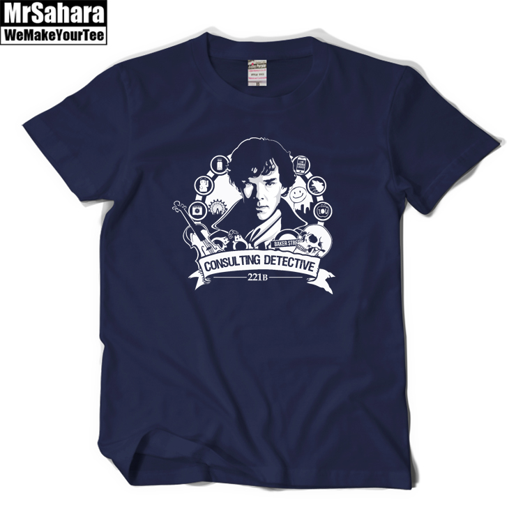 Sherlock Head Portrait Logo T-Shirt Sherlock <font><b>Holmes</b></font> <font><b>John</b></font> Watson Hot BBC TV Series Men Cotton DarkBlue Black Casual Print T Shirt