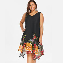 3ddfb839e1 Wipalo kobiety Vintage Plus rozmiar 5XL V Neck Floral Print Boho plaża  szyfonowa sukienka lato Sexy bez rękawów luźna sukienka z.