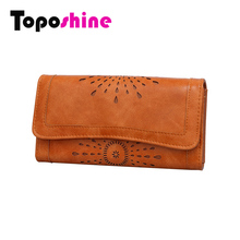 Toposhine Hollow Out Women Wallets Black Cover Coin Purse Women's Wallet PU Leather Brand Woman Purse Promotion Card Holder 2214