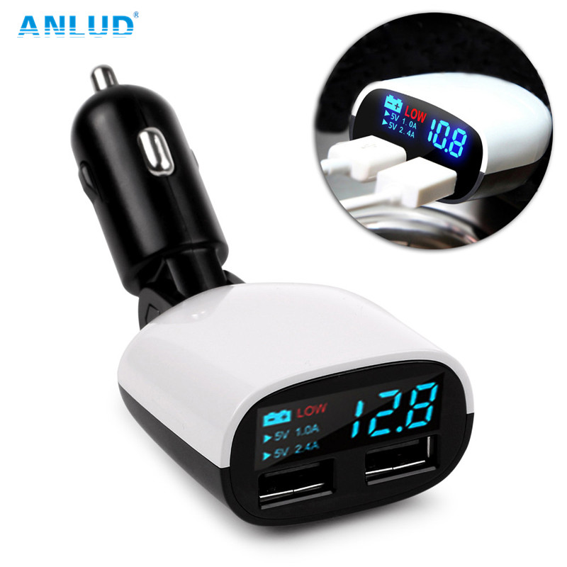 ANLUD Universal Dual USB Car Charger LED Screen for iPone