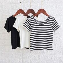 Полосатая футболка с короткими рукавами для девочек детская одежда летняя корейская мода
