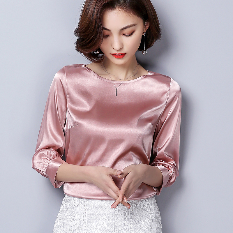 Women Blouses Casual OL Silk Blouse Autumn Loose Basic Satin Shirt Work Wear Blusas Feminina Tops Shirts Plus Size XXXL Pink/Red 1